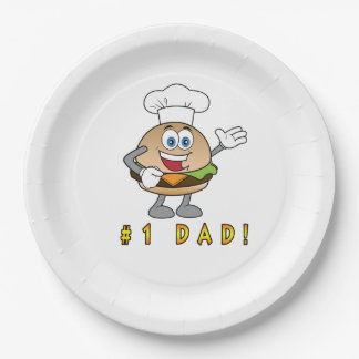 Number One Dad with Cheeseburger Paper Plate