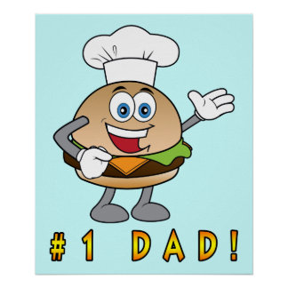 Number One Dad with Cheeseburger Poster