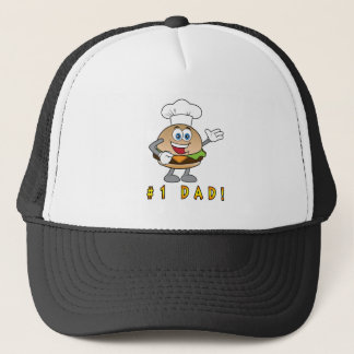 Number One Dad with Cheeseburger Trucker Hat