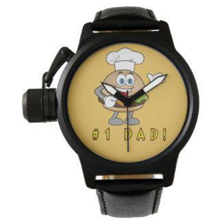 Number One Dad with Cheeseburger Wrist Watch