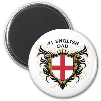 Number One English Dad 2 Inch Round Magnet
