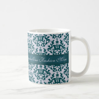 Number One Fashion Mom damask deep teal mug