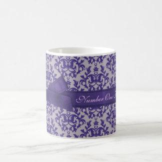 Number One Fashion Mom damask purple grey mug