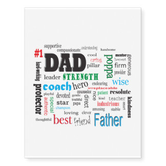 Number One Father Best Dad Word Cloud Temporary Tattoos