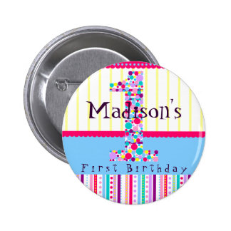 Number One, First Birthday Button