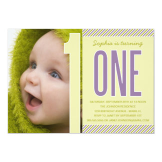 NUMBER ONE   FIRST BIRTHDAY INVITATION