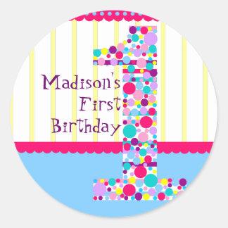 Number One, First Birthday Sticker