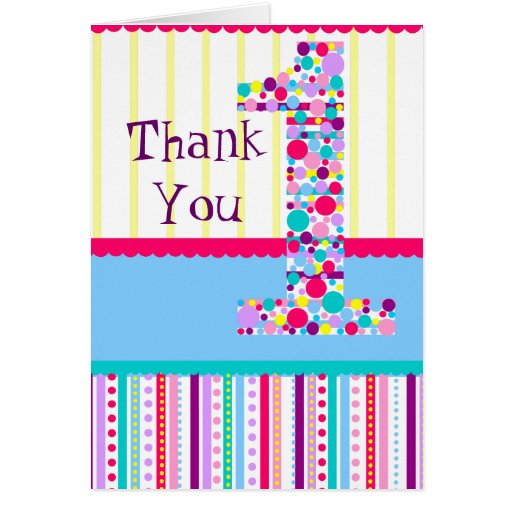 Number One, First Birthday Thank You Card