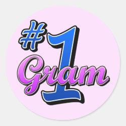 Round Sticker with Number One Gram design