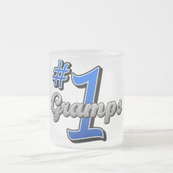 Frosted Glass Mug with Number One Gramps design