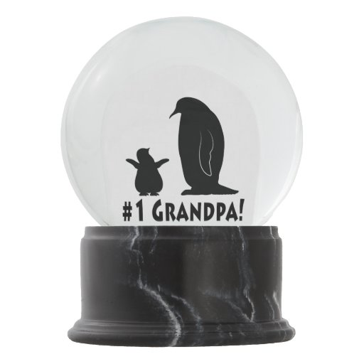 Zazzle Number One Grandpa: Penguin and Chick Snow Globe