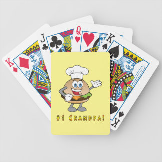 Number One Grandpa with Cheeseburger Bicycle Playing Cards