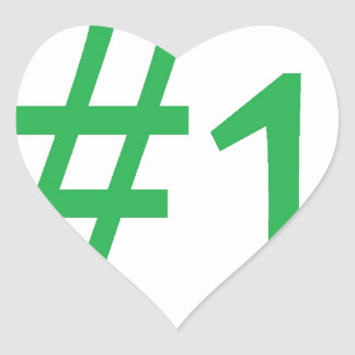 number one- green heart sticker