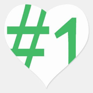 number one- green heart sticker