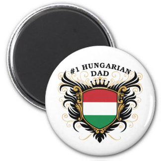 """""""Number One Hungarian Dad"""" 2 Inch Round Magnet"""