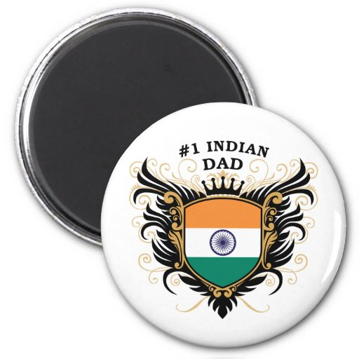 Number One Indian Dad 2 Inch Round Magnet
