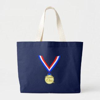 Number one medal winner gold golden tote bag