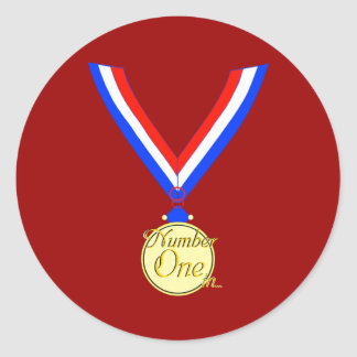 Number one medal winner gold golden classic round sticker