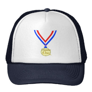 Number one medal winner gold golden trucker hat