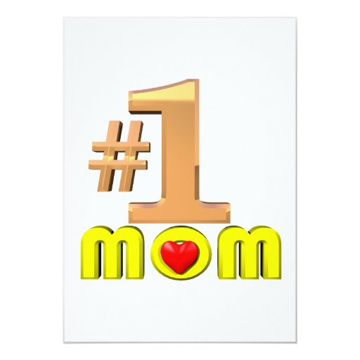 Number One Mom 5x7 Paper Invitation Card