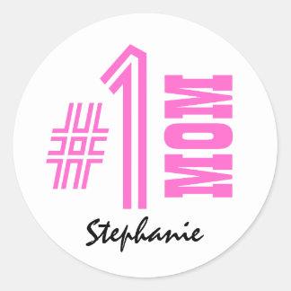 Number One Mom Best Mom Ever Custom Name V4 Classic Round Sticker