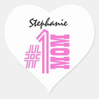Number One Mom Best Mom Ever Custom Name V5 Heart Sticker