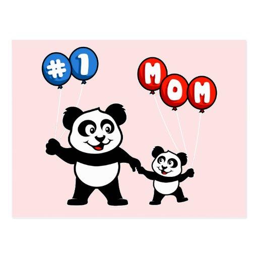 Number One Mom Panda Family Postcard