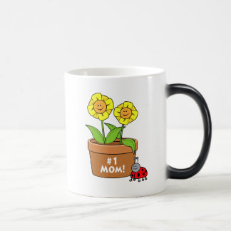 Number One Mom with Flowers and Ladybug Magic Mug