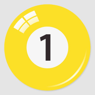 Number one pool ball stickers/labels classic round sticker