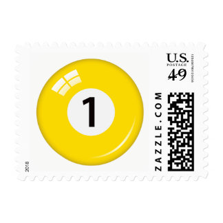 Number one pool or billiard ball postage stamp