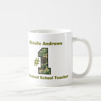 Number One Preschool or Nursery School Teacher V28 Classic White Coffee Mug