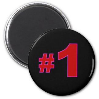 Number One Red 2 Inch Round Magnet