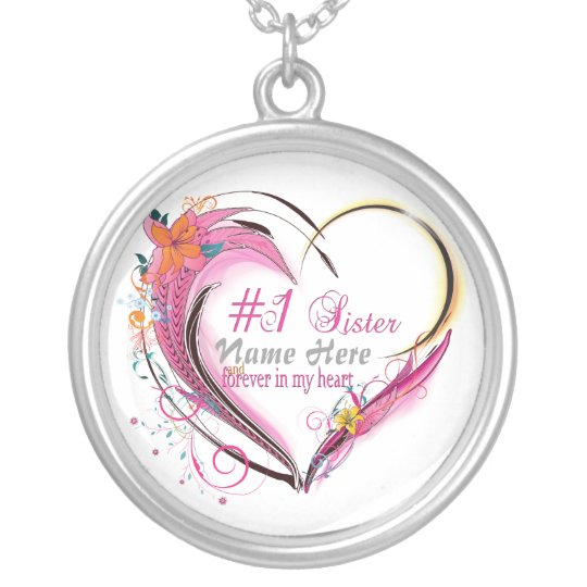 Number One Sister Heart  Necklace