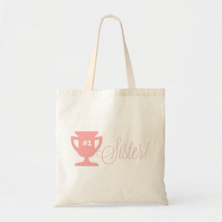 Number One Sister Pink Trophy Tote Bag