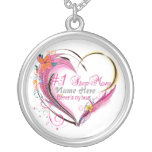 Number One Step Mom Heart  Necklace