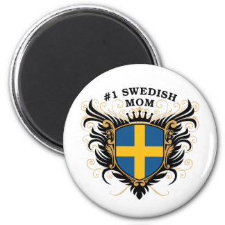 Number One Swedish Mom 2 Inch Round Magnet