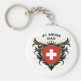 Number One Swiss Dad Keychain