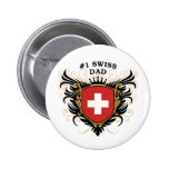 Number One Swiss Dad Pinback Buttons