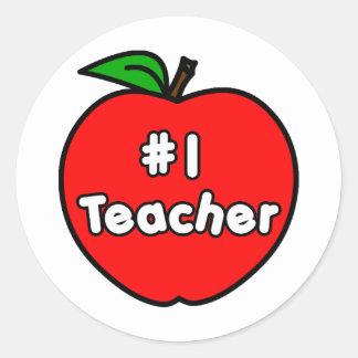 Number One Teacher Apple Classic Round Sticker