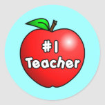 Number One Teacher Apple Stickers