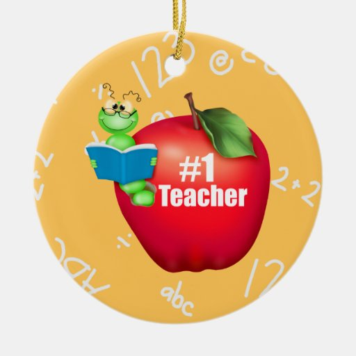 Number one teacher christmas tree ornaments zazzle for Number of ornaments for christmas tree