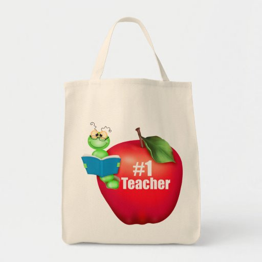 Number One Teacher Grocery Tote Bag