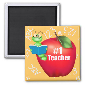 Number One Teacher 2 Inch Square Magnet