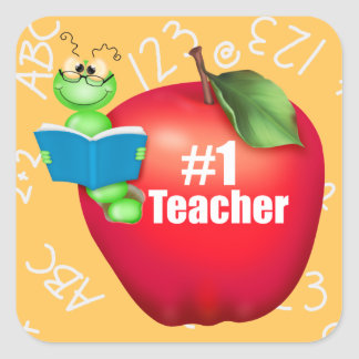 Number One Teacher Square Sticker