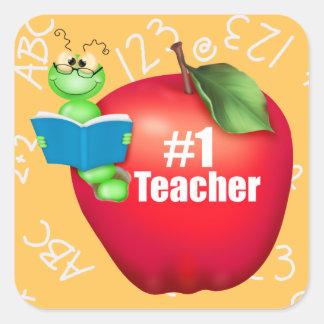 Number One Teacher Square Sticker