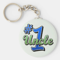 Basic Button Keychain with Number One Uncle design