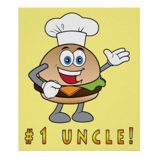 Number One Uncle with Cheeseburger Poster
