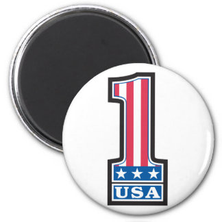Number One USA 2 Inch Round Magnet