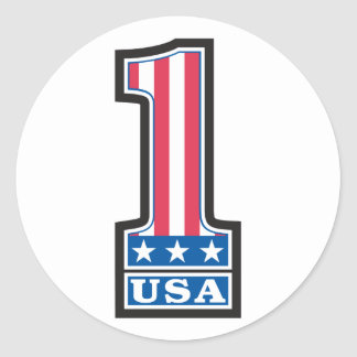 Number One USA Classic Round Sticker