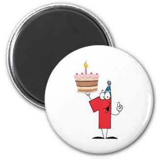Number One With Birthday Cake And One Candle Lit Magnet